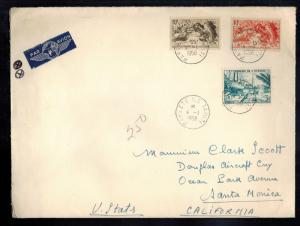 1958 Papeete Tahiti Overize Cover to USA w/card TAI Transports Ariens Interconti