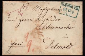 $German Stampless Cover, Hannover (w.time)