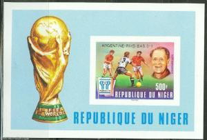 NIGER IMPERFORATED S/S  WORLD CUP SOCCER ARGENTINA 1978 SC#458 SILVER OVP'T