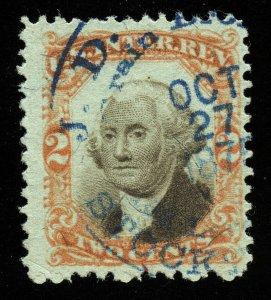 a19 U.S. Revenue Scott R151 2c 3rd issue orange & black on green, handstamp cxl