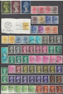 COLLECTION LOT OF #1085 GREAT BRITAIN 70 STAMPS MACHINS 1967+ CLEARANCE