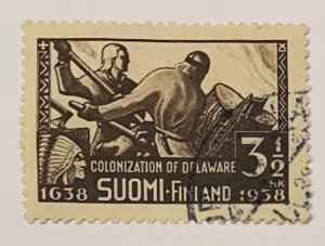 Finland 214 Used Colonization of Delaware be Swedes and Finns (SCV $2.75)