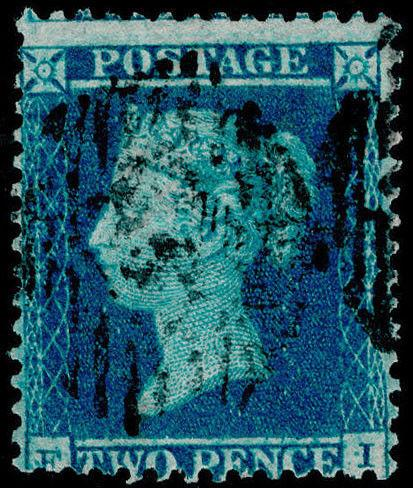 Sg23, 2d blue plate 4, SC14, good used. Cat £225.
