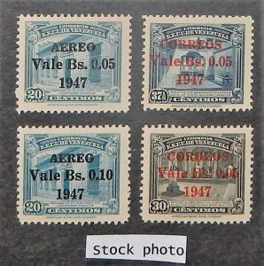 Venezuela 401-02, C237-38. 1947 Surcharges, NH