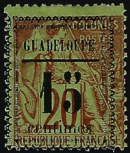 Guadeloupe Scott #8 Overprint Unused Fine hr SCV$32.50..French Colonies are hot!