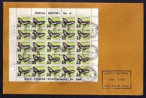 Guyana, Scott cat. 1873. Butterfly sheet, Postal History on a First Day Cover.