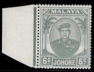 MALAYSIA - Johore GVI SG137a, 6c pale grey, VLH MINT.