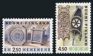 Finland 569-569,MNH.Michel 781-782. Cheese frames,Carved wooden distaffs,1976.