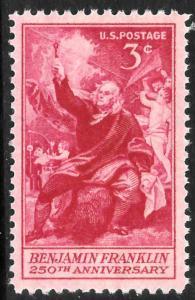 Scott 1073   3¢ Benjamin Franklin Single, MNH