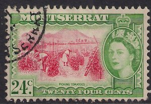 Montserrat 1953 – 62 QE2 24ct Picking Tomatoes Used SG 145 ( E1177 )