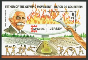 Jersey 760,MNH.Michel 747 Bl.13. CAPEX-1996.Modern Olympic Games-100.Coubertin.