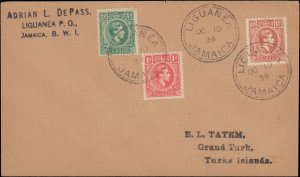 1938 JAMAICA ( LIGUANEA) MULTI KINGS TO TURKS ISLAND
