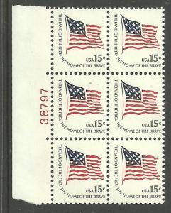 #1597 Ft. McHenry Flag Block of 6 with plate Number 38797 Mint NH