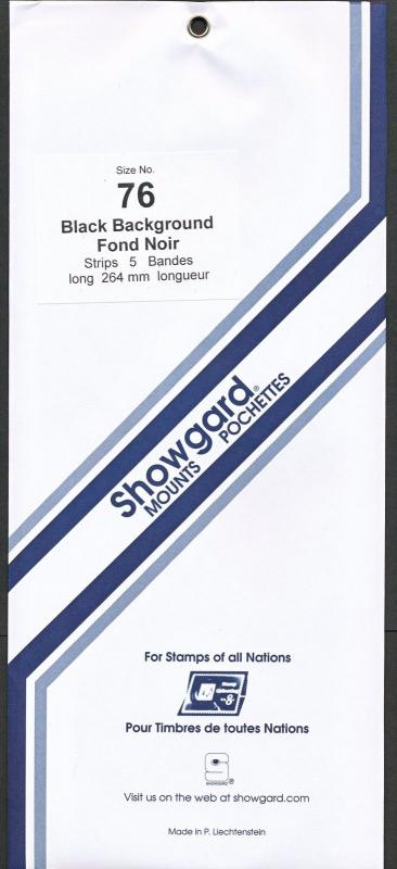 Showgard Stamp Mount 76/264 BLACK Background Pack of 5