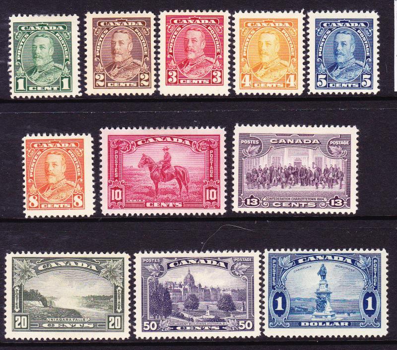 CANADA 1935 KGV PICTORIALS SET 11  MH  Sc 217/27
