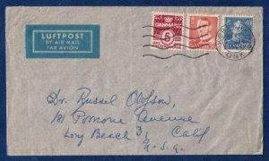 Denmark Postal History Cover Scott #224,Sc 286&307 (1949) New Year Day F-VF