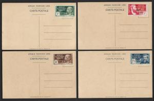 FRENCH EQUATORIAL AFRICA 1940 General DeGaulle Free France Set on 4 Picture PCs