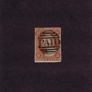 SC#10A VAR USED 3C WASHINGTON 1851, ORANGE BROWN TYPE II 2019 PF CERT