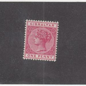 GIBRALTAR (MK996) # 10  VF-MH  1d  1898 QUEEN VICTORIA / ROSE CAT VALUE $50