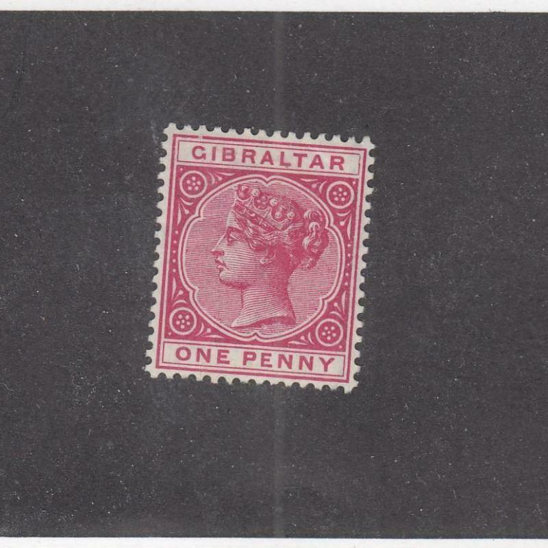 GIBRALTAR (MK996) # 10  VF-MH  1d  1898 QUEEN VICTORIA / ROSE CAT VALUE $50
