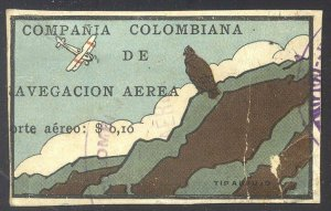 COLOMBIA #C8 SCARCE Used - 1920 10c Condor on Cliff