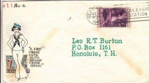 1943, New York, NY to Honolulu, HI, Crissy Hand Colored Cachet (30434)