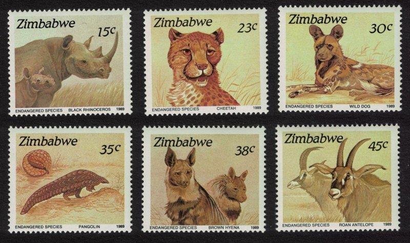 Zimbabwe Rhinoceros Pangolin Cheetah Hyena 6v SG#762-767
