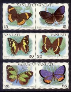 Vanuatu Sc# 346-8 MNH Butterflies