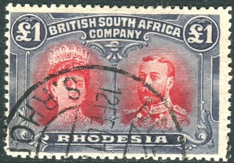 RHODESIA-1910-13 £1 Rose-Scarlet & Bluish Black. A very fine used example Sg 166