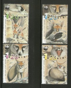 Israel MNH 1401-4 Blanford's Foxes WWF 2000