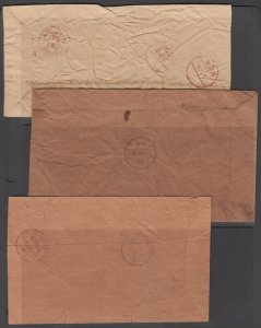 India, Indore c. 1885, 3 diff Stampless Home Made Covers, Sanael, Mahu & Manusa