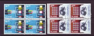 J3305 JL stamps 1988 iceland used set/2 blk4 #660-1 $10.40v