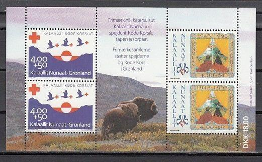/ Greenland, Scott cat. B18 A. 50th Anniversary of Scouting & Red Cross s/sheet.