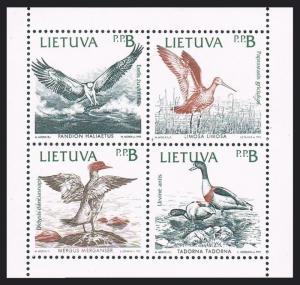 Lithuania 427-430a pane,MNH.Michel 501-504. Birds of the Baltic Shores,1992.