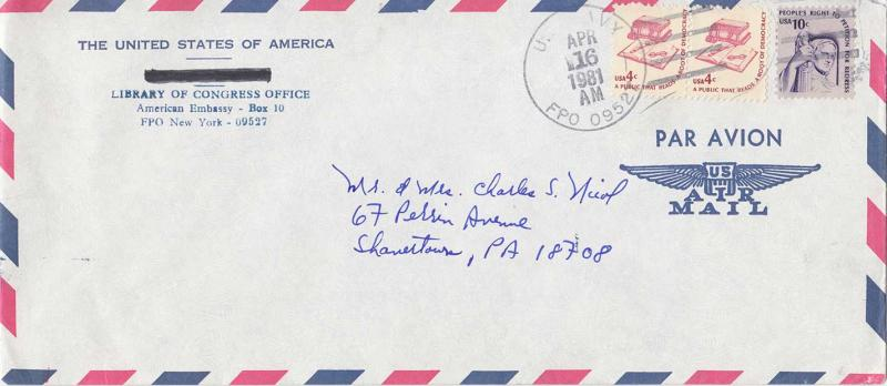 United States Fleet Post Office 4c (2) and 10c Americana 1981 U.S. Navy, FPO ...