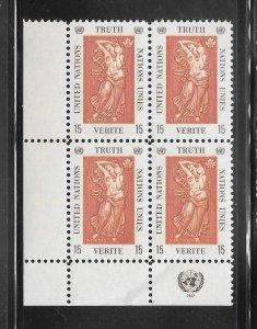 United Nations #174 MNH Margin Inscription Block of 4