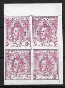 MALAYA STRAITS SETTLEMENTS 1933-4 5c MAROON SURVEY DEPT ESSAY IMPERF BLK OF 4 MM