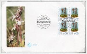 Greenland Sc 281 1996 4.5 kr Orchid stamp block of 4 on First Day Cover