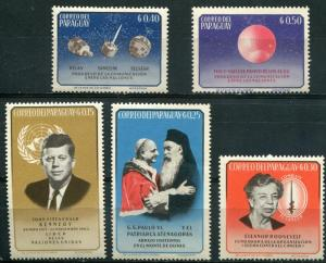 Paraguay SC# 828-32 Kennedy, Pope, Space MNH