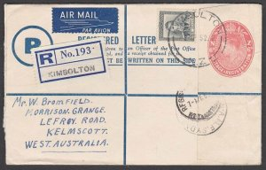 NEW ZEALAND 1952 6d Registered envelope + 5d used Kimbolton to Australia....L475
