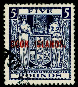 COOK ISLANDS SG136, £5 indigo-blue, FINE USED. Cat £500.
