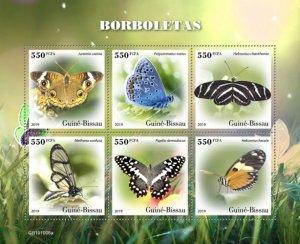 GUINEA BISSAU - 2019 - Butterflies - Perf 6v Sheet - M N H