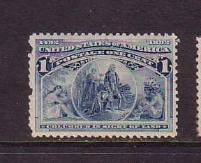USA Sc 230 1893 1 cent blue Columbus in sight of Land stamp mint