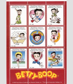 Comoro Islands 1998 Betty Boop Sheet (9) Perforated mnh.vf