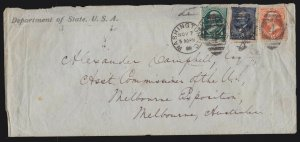 US 189, 209, 216 on MultiColored Franking on State Department Cover to Australia