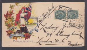 Canada Sc 75 pair on 1900 MAPLE LEAF FOREVER patriotic, Toronto-London via N.Y.