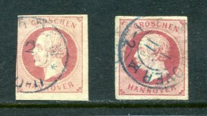 x651 - Germany States HANNOVER #19 & 19b, two shades. Used.