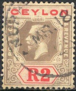 CEYLON-1913 2r Black & Red/Yellow white back Sg 316a FINE USED V50148
