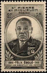 St-PIERRE-&-MIQUELON - 1945 - Yv.323 2fr noir Félix Éboué NEUF**