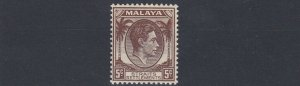 MALAYA  STRAITS SETTLEMENTS  1938 - 41  S G 281 5C BROWN  MH